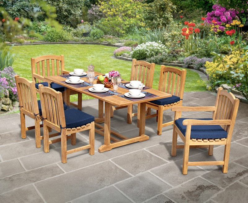 Winchester 6 Seater Teak 1.8m Rectangular Table with Gloucester Armchairs and Side Chairs