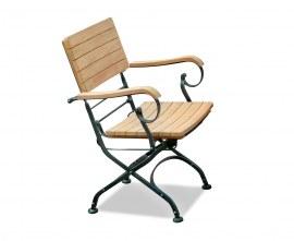 Café Folding Garden Bistro Armchair - Black