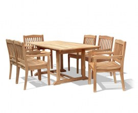 Winchester 6 Seater Teak 1.8m Rectangular Table with Winchester Armchairs