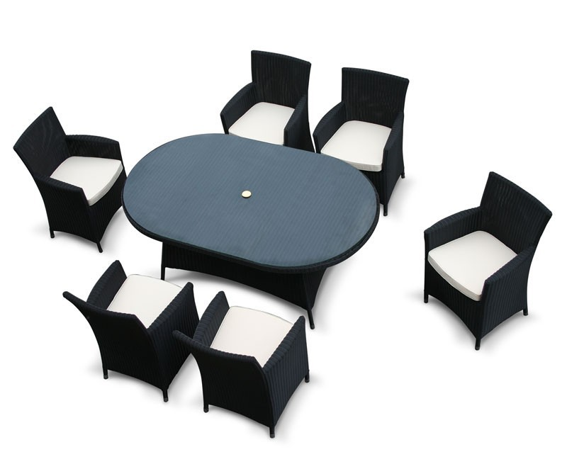 Verona 6 Seater Oval Rattan Dining Set with Glass Top - Loom Weave
