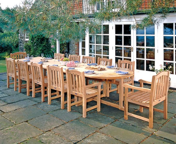 Winchester 12 Seater Teak 4m Oval Table with Armchairs