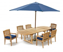 Oxburgh 6 Seater Teak 2-3m Extending Table with Winchester Armchairs