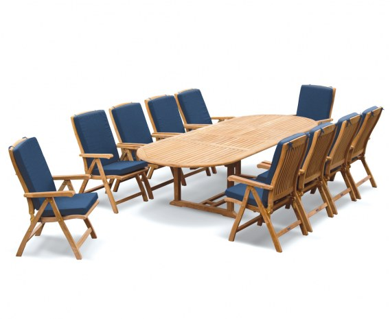 Oxburgh 10 Seater Teak 2-3m Extending Table with Cannes Recliners