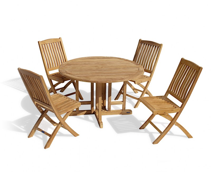 Berwick 1.2m Round Gateleg Table and 4 Cannes Folding Chairs Set