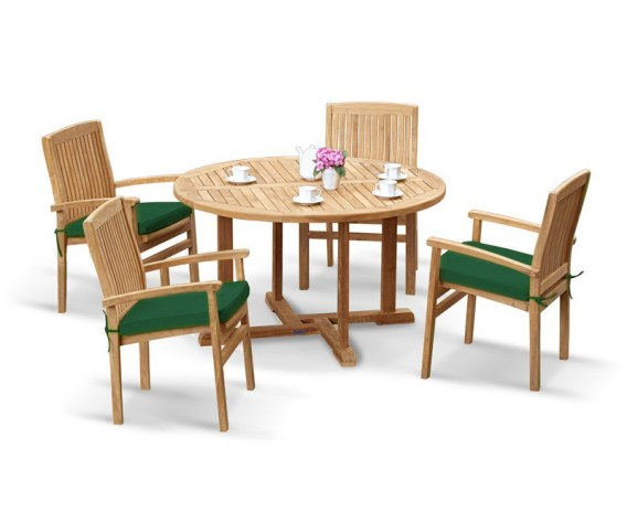 Sissinghurst 4 Seater Round 1.3m Dining Set with Cannes Chairs
