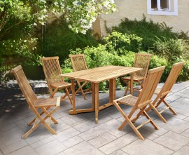 Byron 6 Seater Teak 1.5m Gateleg Dining Set and Newhaven Dining Chairs