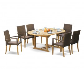 Oxburgh 6 Seater Single Leaf Extending Table with St. Moritz Armchairs