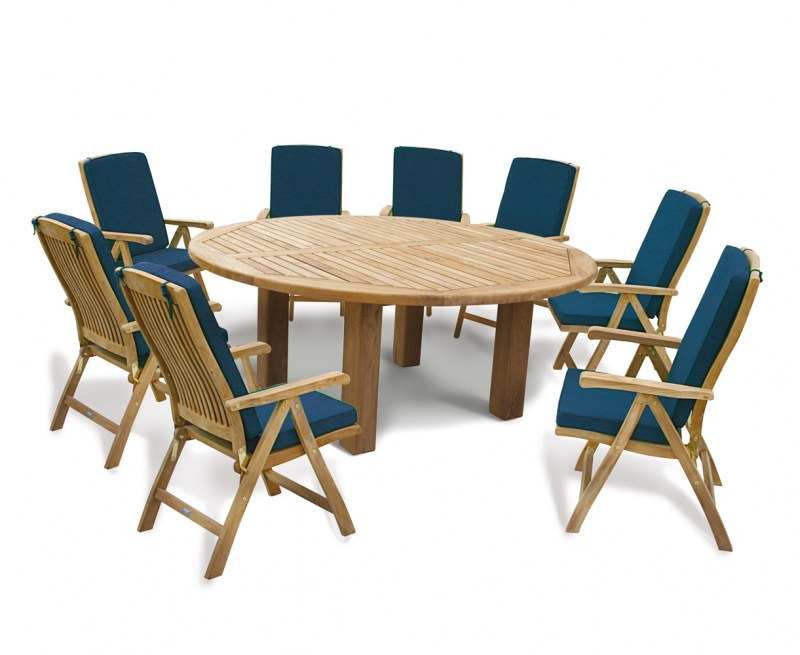Orion 8 Seater Round 1.8m Garden Table with Cannes Reclining Chairs