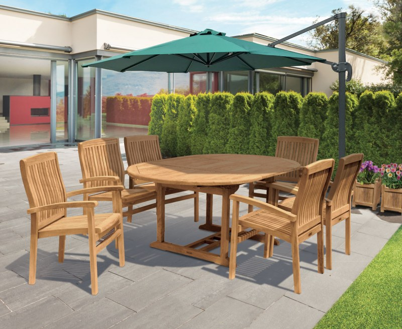 Oxburgh Single Leaf Extending Table with 6 Cannes Stacking Chairs