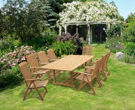 Dorchester Extending 1.8 - 2.4m Table & 8 Bali Garden Recliner Chairs