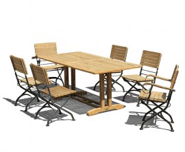 Cornwall 6 Seater Pedestal Table 1.8m & Cafe Folding Chairs Set
