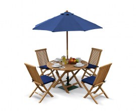 Lymington Teak Round 1.2m Folding Dining Set with 4 Newhaven Chairs
