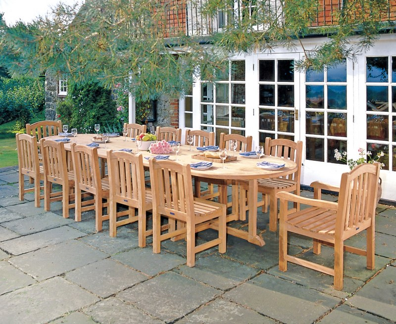 Winchester 12 Seater Teak 4m Oval Table with Armchairs and Side Chairs