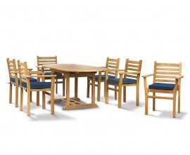 Oxburgh Bijou 6 Seater Teak Extending Table and Chairs Set