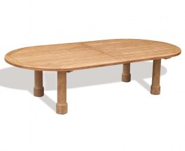 Orion Teak Oval Garden Table, Round Leg - 1.4 x 3m