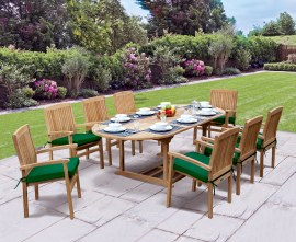 Oxburgh 8 Seater Teak 1.8-2.4m Extending Table with Cannes Stacking Armchairs