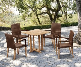 Sissinghurst 4 Seater Square 80cm Dining Set with St. Moritz Chairs