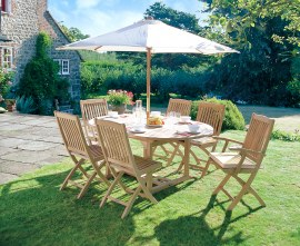 Oxburgh Teak Extendable Outdoor Dining Table with 6 Folding Chairs