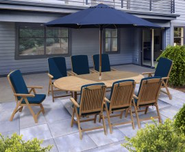 Oxburgh 8 Seater Teak Extendable Table with Cannes Recliner Chairs