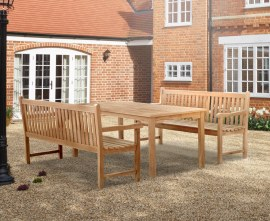 Hampton 8 Seater Rectangular 1.8m Dining Set with York Benches