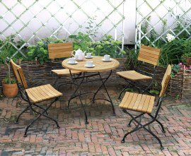 Teak Folding Cafe Round 0.8m Table & 4 Side Chairs