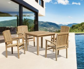 Hampton 4 Seater Teak Square Dining Set with Cannes Stacking Chairs
