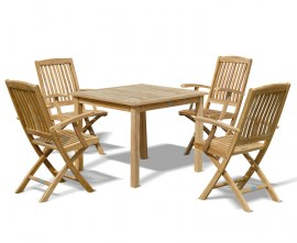 Hampton 4 Seater Teak Square Dining Set with Cannes Folding Chairs