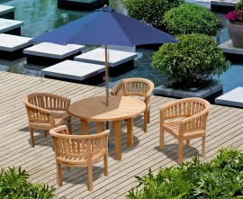 Orion 4 Seat Round Teak Garden Table and Chairs Dining Set