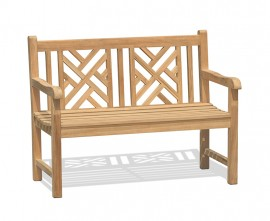 Chartwell Teak Lattice 2 Seater Garden Bench - 1.2m