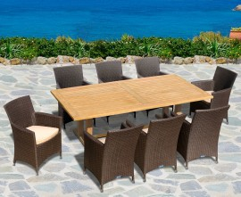 Rectory 8 Seater Teak 2.25 x 0.9m Table and Verona Flat Weave Chairs
