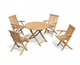 Lymington Teak 1m Round Table and 4 Chester Low Back Armchairs Set