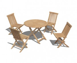 Lymington Teak 1m Round Table and 4 Chester Low Back Side Chairs Set