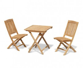 Palma 70cm Folding Teak Square Table and 2 Cannes Side Chairs Set