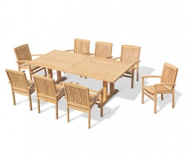 Rectory 8 Seater Teak 2.25 x 1.1m Table and Cannes Stacking Armchairs