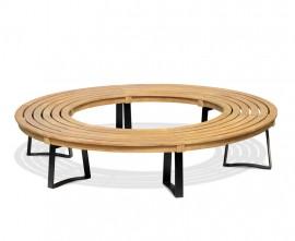 Backless Teak Circular Tree Seat with Metal Legs - 2.2m