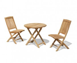 Lymington 2 Seater Round Folding Table and 2 Cannes Side Chairs Set