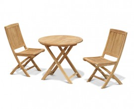 Lymington 2 Seater Round Folding Table and 2 Rimini Side Chairs Set