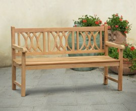 Harrogate Decorative Teak Garden Bench, Flat Pack - 1.5m
