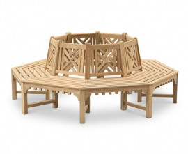 Chartwell Crenelated Teak Octagonal Tree Bench – 2.2m