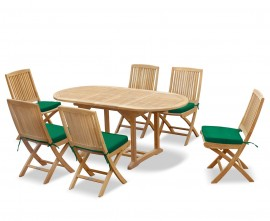 Oxburgh Bijou 6 Seater Single Leaf Extending Table 1.2-1.8m with Palma Folding Chairs