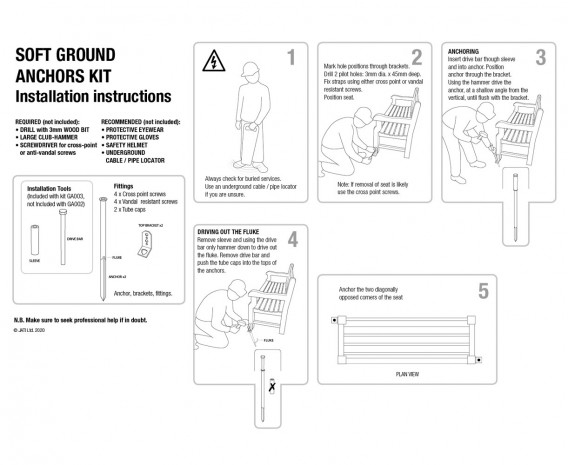 round Anchor Kit for Soft Surfaces – Installation Tool Included