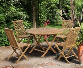 Lymington Octagonal 1.2m Folding Dining Set and 4 Newhaven Side Chairs