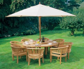 Orion 8 Seater Round Teak Garden Table and Chairs Dining Set