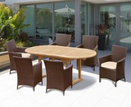 Oxburgh Bijou Double Leaf Extending Table & Verona Armchairs