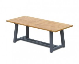 Blackrock Teak Trestle Garden Table with Aluminium Legs – 2m