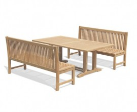 Rectory 8 Seater Teak 2m Rectangular Table and Reigate Benches Set