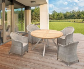 Disk 4 Seater Circular Outdoor Dining Set with Eaton Woven Armchairs