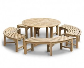 Sissinghurst Teak Round 1.3m Dining Set with Curved Benches
