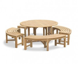 Sissinghurst Teak Round 1.5m Dining Set with Curved Benches