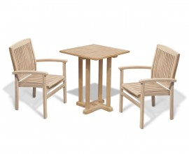 Sissinghurst 60cm Square Table and 2 Cannes Stacking Chairs Set